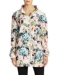 Sam Edelman Floral Print Hooded Jacket Mutli