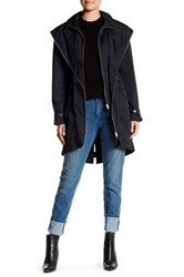 Soia And Kyo Zip Up Hooded Trench Coat Black