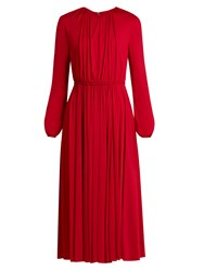 Valentino Long Sleeved Gathered Jersey Midi Dress