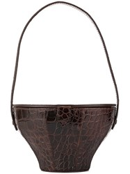 Staud Croc Embossed 'Alice' Bag Brown