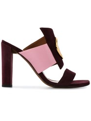Neous Open Toe Ring Sandals Women Leather Suede Metal 36 Pink Purple