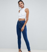 Asos Design Tall Ridley High Waist Skinny Jeans In Flat Blue Wash