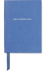 Smythson Panama Off The Beaten Track Textured Leather Notebook Blue