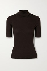 Theory Leenda R Ribbed Merino Wool Blend Turtleneck Sweater Dark Brown
