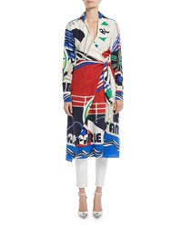 Ralph Lauren Helaine Long Sleeve Printed Silk Midi Shirtdress Blue Pattern