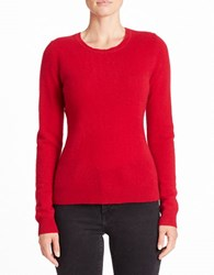 Lord And Taylor Crewneck Cashmere Sweater Geranium
