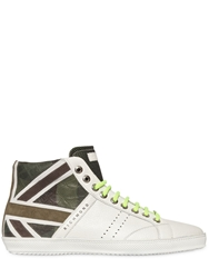 Richmond Grained Leather High Top Sneakers White Green