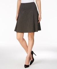 Tommy Hilfiger Check Print Fit And Flare Skirt Black Ivory