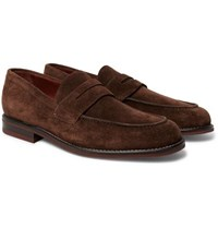 Loro Piana City Life Suede Penny Loafers Dark Brown