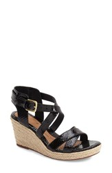 Women's Sofft 'Inez' Wedge Sandal Black Snake Print Leather