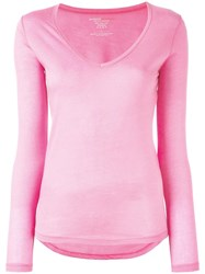 Majestic Filatures V Neck Jumper Pink Purple