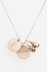 Women's Nashelle Pyrite Initial And Arrow 14K Gold Fill Disc Necklace Gold Pyrite Silver Pyrite F