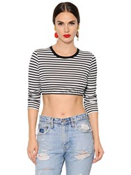 Dolce And Gabbana Striped Cotton Jersey Cropped T Shirt