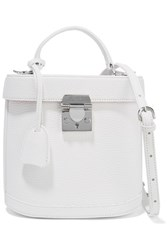 Mark Cross Benchley Textured Leather Shoulder Bag White