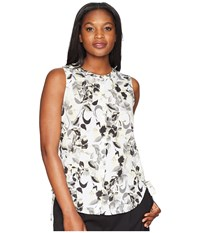 Ellen Tracy Sleeveless Ruched Blouse Ava Blooms White Multi