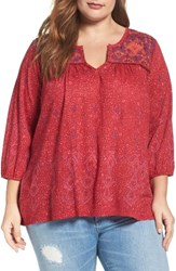 Lucky Brand Plus Size Women's Embroidered Split Neck Top Red Multi