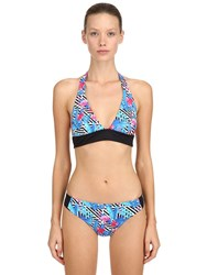 Mc2 Saint Barth Diagonal Stripe And Floral Lycra Bikini Multicolor