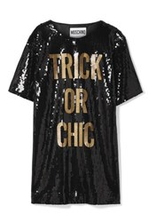 Moschino Sequined Jersey Mini Dress Black
