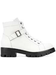 Tosca Blu Lace Up Buckled Boots Calf Leather Leather Rubber White