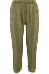 Haider Ackermann Frayed Paneled Jersey And Cotton Twill Track Pants Army Green