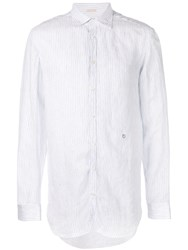 Massimo Alba Striped Long Sleeve Shirt White