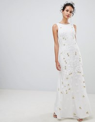 Frock And Frill Embellsihed Column Maxi Dress White