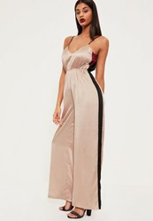 Missguided Rose Gold Contrast Stripe Satin Wide Leg Jumpsuit