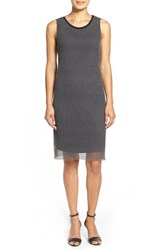 Women's T Tahari 'Sylvia' Crochet Mesh Overlay Dress Black Grey