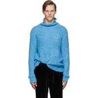 Sies Marjan Blue Bas Boucle Turtleneck Sweater