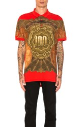 Givenchy Money Print Polo In Abstract Red Abstract Red