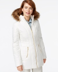 Celebrity Pink Faux Fur Trim Quilted Puffer Coat Snow White