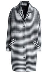 Mother Of Pearl Ruffle Trimmed Checked Twill Coat Gray