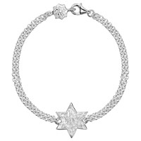 Dower And Hall Engravable Cherish The Moment Star Double Chain Bracelet Silver