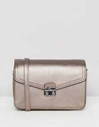 Stradivarius Metallic Cross Body Bag Silver