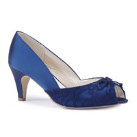 Paradox London Pink Dariela Wide Fit Mid Heel Peep Toe Shoes Blue