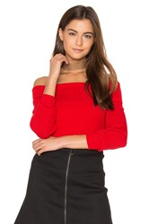 525 America Off Shoulder Ribbed Sweater Red