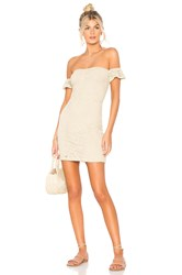 Nightcap Crochet Flutter Dress Tan