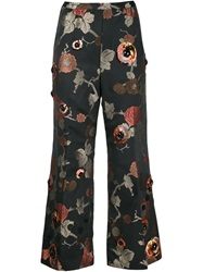 Marc Jacobs Floral Jacquard Cropped Trousers Black