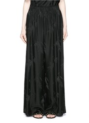Ms Min Bamboo Leaf Silk Jacquard Wide Leg Pants Black