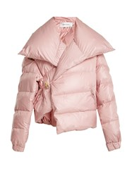 Marques Almeida Asymmetric Quilted Down Coat Light Pink