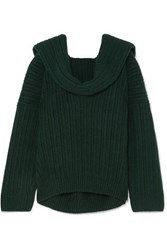 Jacquemus Ahwa Draped Ribbed Wool Blend Sweater Forest Green