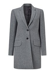 Jigsaw Herringbone Wool City Coat Navy