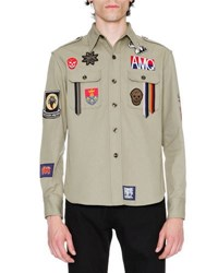 Alexander Mcqueen Military Shirt Jacket W Patches Beige