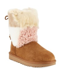 Ugg Classic Patchwork Fluff Boots Chestnut