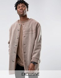 Reclaimed Vintage Collarless Cocoon Coat In Borg Grey