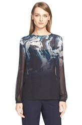 Women's St. John Collection Marble Degrade Print Silk Georgette Blouse With Scarf