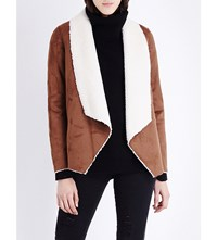 The Kooples Waterfall Style Faux Shearling Jacket Camel Beige