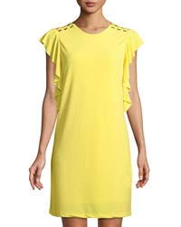 Dex Butterfly Sleeve Lace Shoulder Shift Dress Yellow