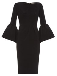 Roksanda Ilincic Margot Bell Sleeve Crepe Dress Black