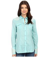 Stetson Solid Lawn Long Sleeve Western Shirt Blue Women's Clothing